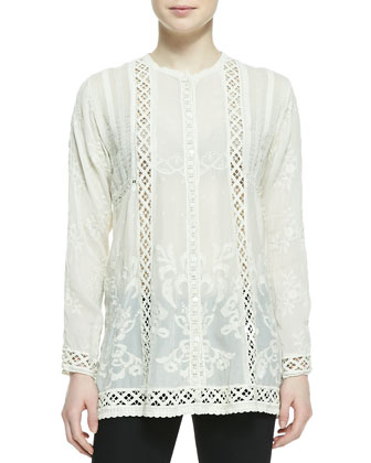 Ivory Lisa Printed Silk Scarf & Tasha Button-Front Blouse, Women's