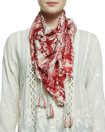 Ivory Lisa Printed Silk Scarf & Tasha Button-Front Blouse