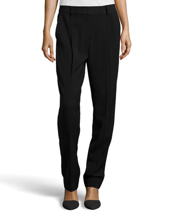 Pleated Ponte Pants, Black