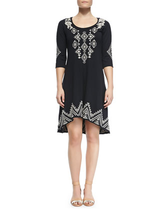 Tulia 3/4-Sleeve Embroidered Dress, Women's