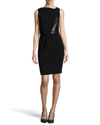 Draped Jersey Leather Dress, Black