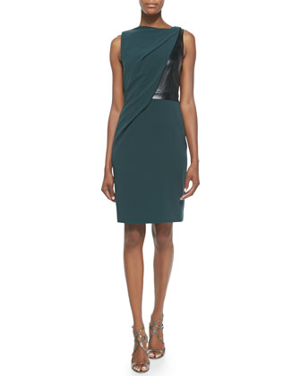 Draped Jersey Leather Dress, Chlorophyll