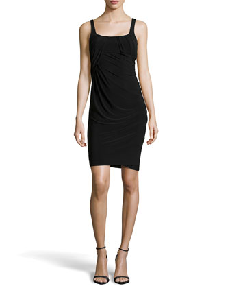 Sleeveless Draped Jersey Dress, Black