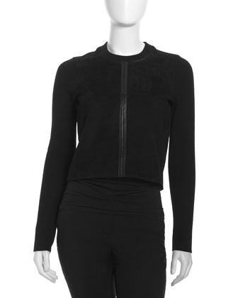 Suede Long-Sleeve Top, Black