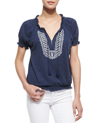 Harmony Embroidered Short-Sleeve Top