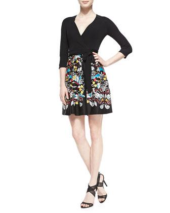 Jewel Printed-Silk Wrap Dress, Ballet Russe