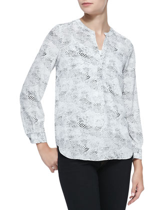 Peterson B Snakeskin-Print Silk Top