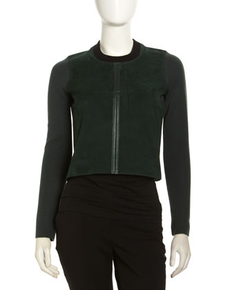 Suede Long-Sleeve Top, Chlorophyll