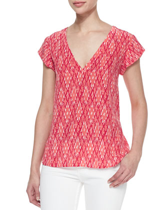 Rubina Ikat-Print Silk Top