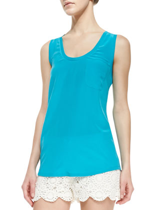 Alicia Silk Tank Top, Peacock