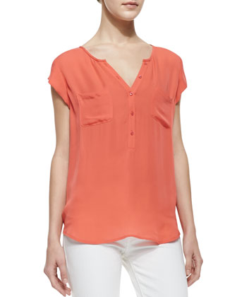 Nicoline Silk Short-Sleeve Top