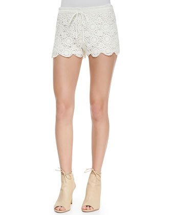 Maylie Cotton Lace Shorts, Porcelain