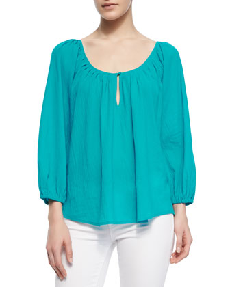 Khan Long-Sleeve Keyhole Top