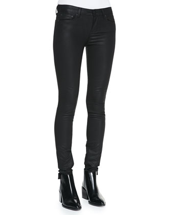 Zipper-Cuff Coated Skinny Pants, Black