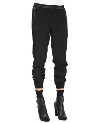 Fur-Trim Quilted Parka, Two-Tone Short-Sleeve Tee & Rib-Cuff Jogger Pants