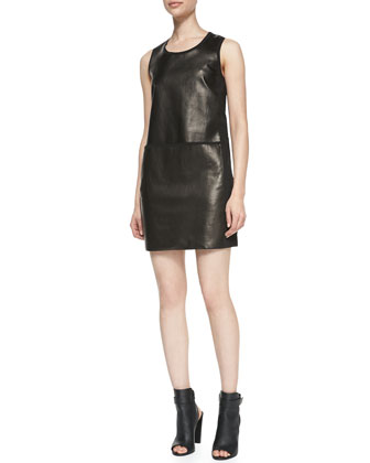 Paneled Sleeveless Leather/Ponte Dress