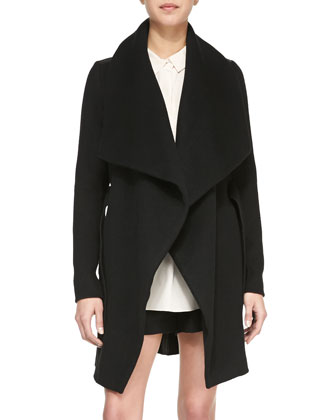 Asymmetric Leather-Trim Car Coat, Long-Sleeve Half-Placket Silk Blouse & ...