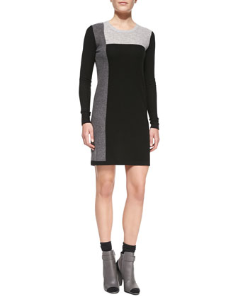 Geometric Intarsia Cashmere Long-Sleeve Sweaterdress