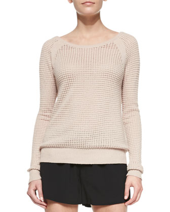 Raglan Thermal Cashmere-Blend Sweater