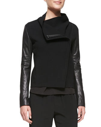 Leather-Sleeve Asymmetric Wool Biker Jacket