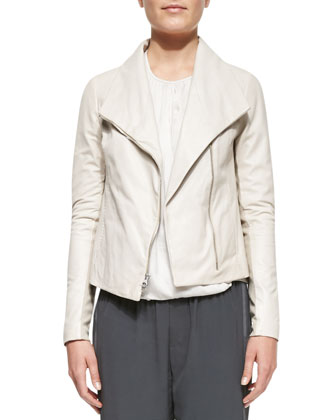 Lambskin Scuba Jacket, Cross-Front Drape Long-Sleeve Blouse & Ribbed-Cuff ...