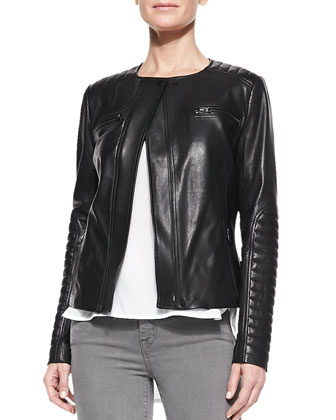 Quilted-Patch Leather Moto Jacket, Short-Sleeve Shirttail Tee & Side-Stripe ...