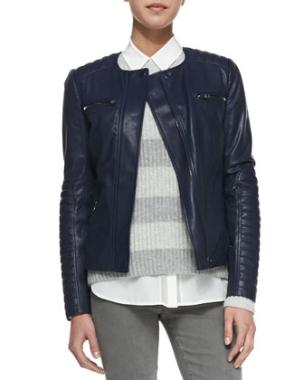 Quilted-Sleeve Leather Moto Jacket, Striped Ribbed-Knit Sweater & Skinny Jeans