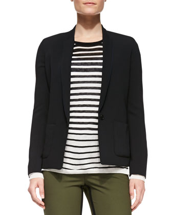 One-Button Silk Inlay Blazer, Striped Crewneck Sweater & Strapping Trousers