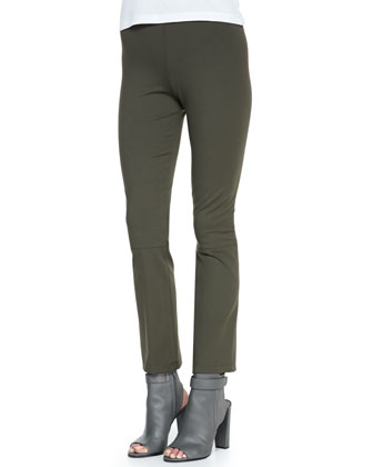 Cropped Stretch-Knit Pull-On Leggings