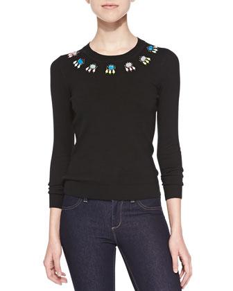 Jewel-Neck Long-Sleeve Sweater