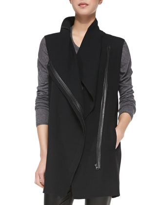 Leather-Trim Asymmetric Wool Vest