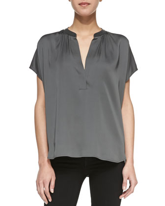 Leather-Contrast Silk Popover Blouse