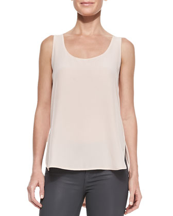 Scoop-Neck Loose Silk Tank & Zipper-Cuff Coated Skinny Pants