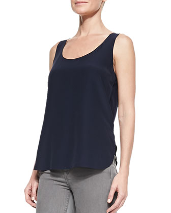 Scoop-Neck Loose Silk Tank & Side-Stripe Skinny Jeans