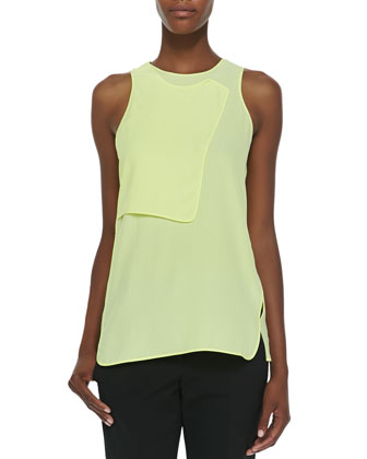 Layered Georgette Sleeveless Tank, Citrine