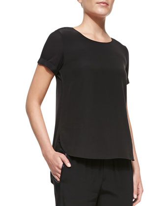 Cap-Sleeve Silk-Yoke Shirttail Tee, Black