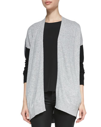 Cashmere Colorblock Drape Cardigan, Cap-Sleeve Silk-Yoke Shirttail Tee & ...