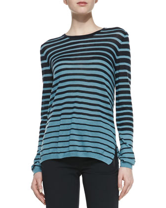 Striped Long-Sleeve Knit Sweater