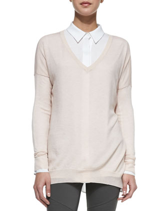 Lightweight V-Neck Drop-Sleeve Sweater, Classic Long-Sleeve Silk Blouse & ...