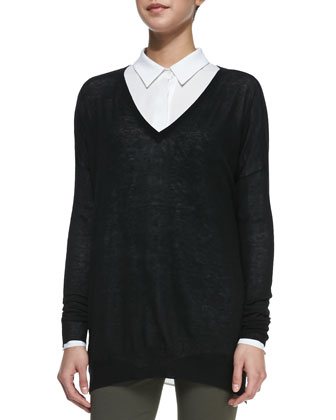 Lightweight V-Neck Drop-Sleeve Sweater, Black