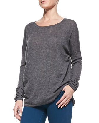 Boat-Neck Cashmere Sweater, Lightweight Long-Sleeve Crewneck Top & ...
