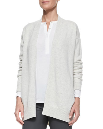 Mixed-Gauge Open Knit Cardigan, Long-Sleeve Slub Henley & Zipper-Cuff ...