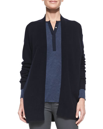 Mixed-Gauge Open Knit Cardigan, Contrast-Placket Slub Henley & Zipper-Cuff ...