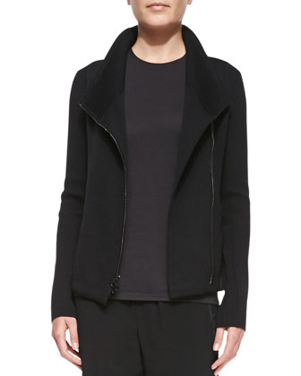 Zip-Front Merino Scuba Sweater, Black