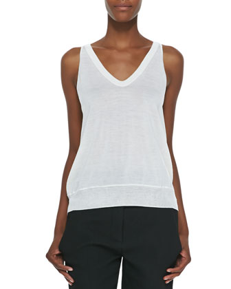 Sleeveless V-Neck Silk Top, Peroxide
