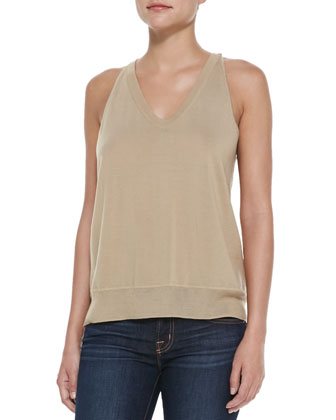 Sleeveless V-Neck Silk Top, Almond