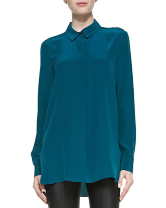 Long-Sleeve Half-Placket Silk Blouse