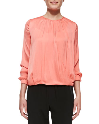 Cross-Front Draped Long-Sleeve Top