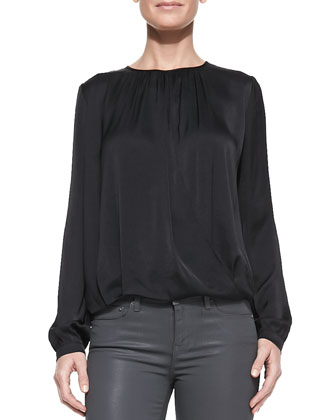 Drape-Front Satin Blouse & Zipper-Cuff Coated Skinny Pants