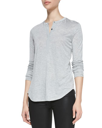 Silk-Contrast Long-Sleeve Henley Top & Zipper-Cuff Coated Skinny Pants